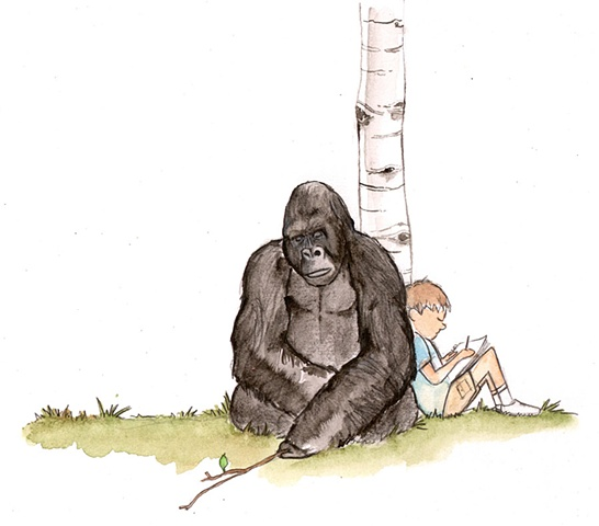 Gorilla and boy.