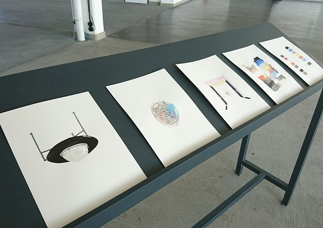 Selection of watercolours made and installed at The Bauhaus School, Dessau, Germany