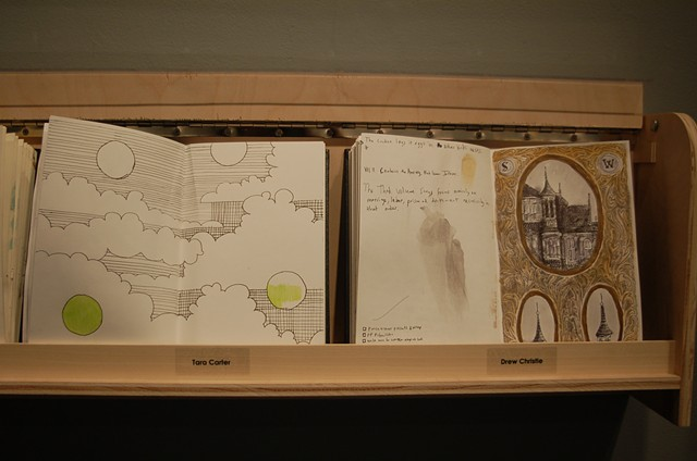 Installation view, Tara Carter and Drew Christie Sketchbooks
