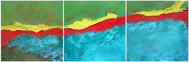panta rei, acrylic, canvas, fine art, original painting, abstract, landscape, fine art, triptych