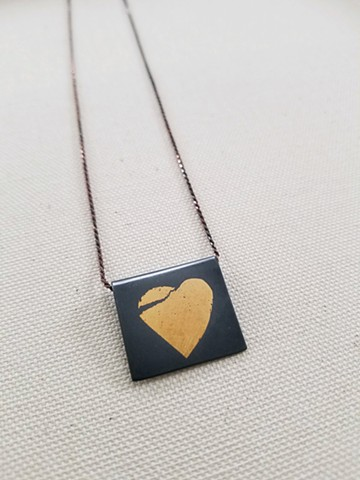 """Broken Heart"" Fine Silver and 24K Gold."