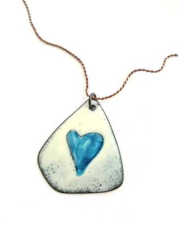 Copper Enameled Pendant with Sterling Silver Chain