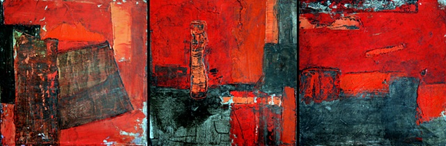 abstract, acrylic, old town, canvas, fine art, original painting, triptych