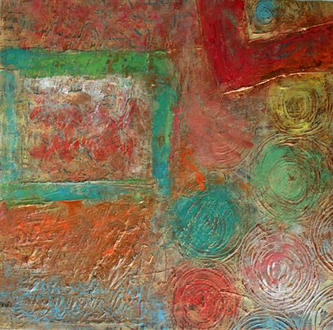 abstract, encausting on canvas, fine art, hope, field, landscape, original painting
