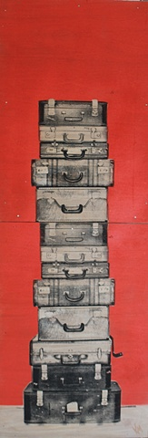 Suitcase Stack on Red