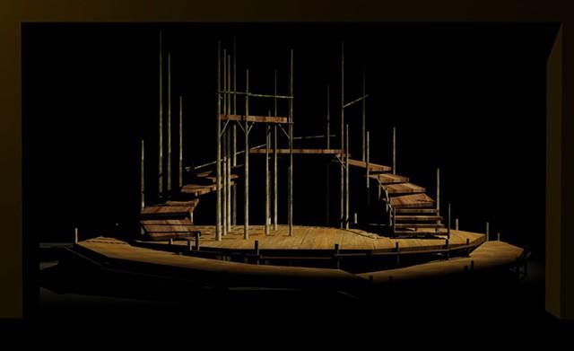 VIZ rendering of Ming Cho Lee set design.