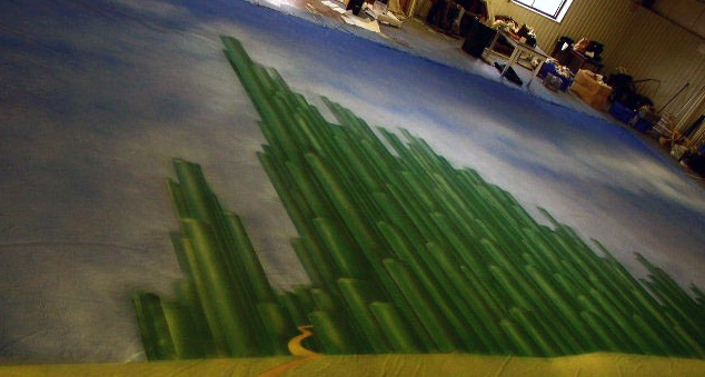 Scenic painting: 54'x34' Oz drop.