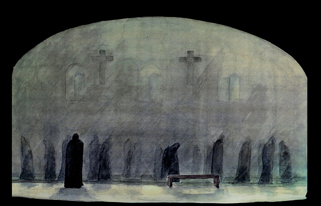 "Watercolor rendering for ""The House of Bernarda Alba"""