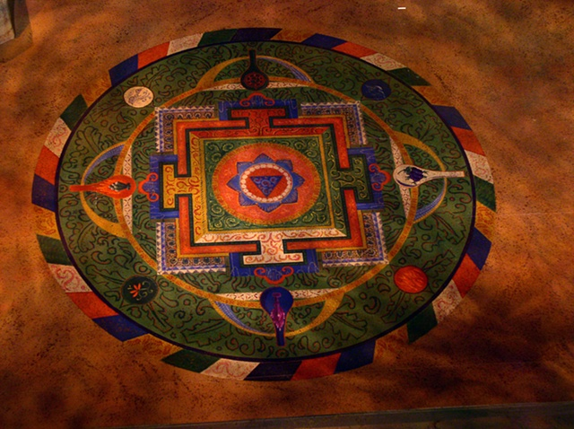 Scenic painting: Mandala/ floor treatment.