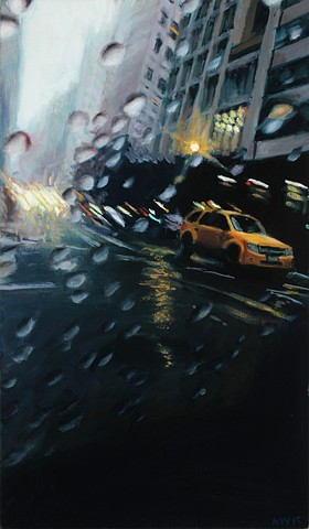 oil painting through a rainy windshield on a New York Street by Karen Woods