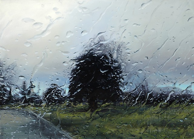Rainy Park oil painting