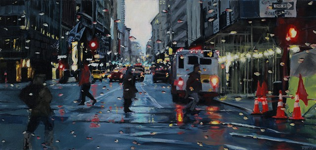 Painting of New York Street in the rain.