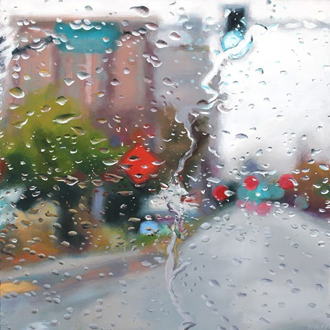 Rainy streetscape oil painting through the car windshield