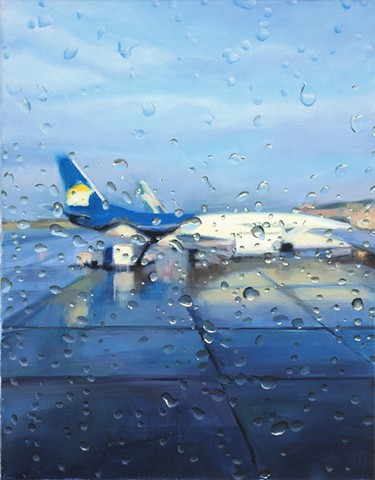Painting looking out an airplane window in the rain