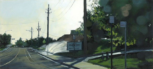 Streetscape oil painting with sprinklers