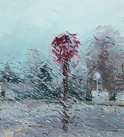 An oil painting of a rain-soaked windshield with a stop signon an Idaho highway.