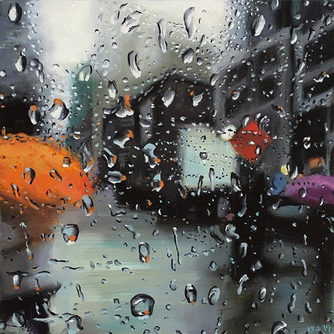 Painting looking out a car window in the rain
