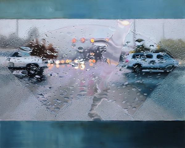 fan shaped painting of a rainy road
