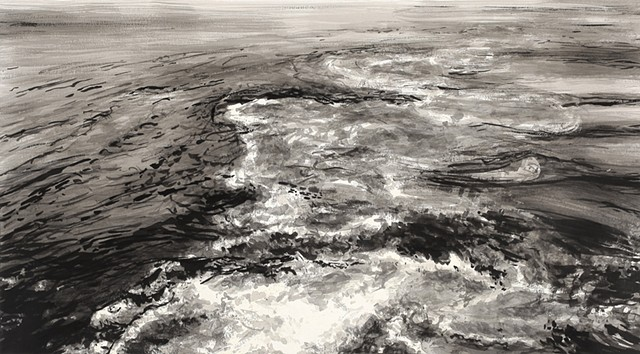 Ink drawing of a seascape at night