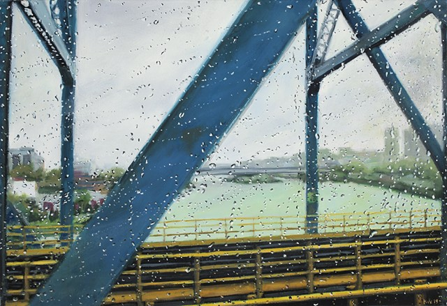 Painting looking out a train window in the rain