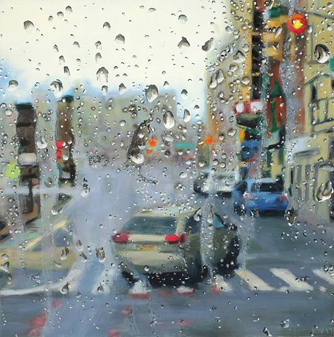 Painting looking out a bus window in the rain