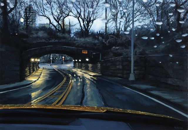 Oil painting of Central Park in the rain