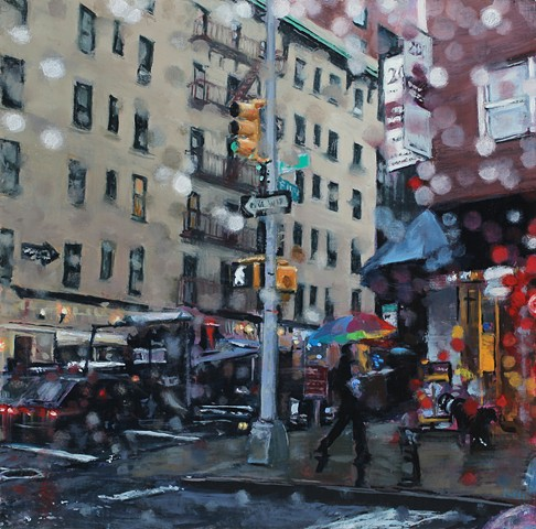 oil painting of rainy streetscape in new york