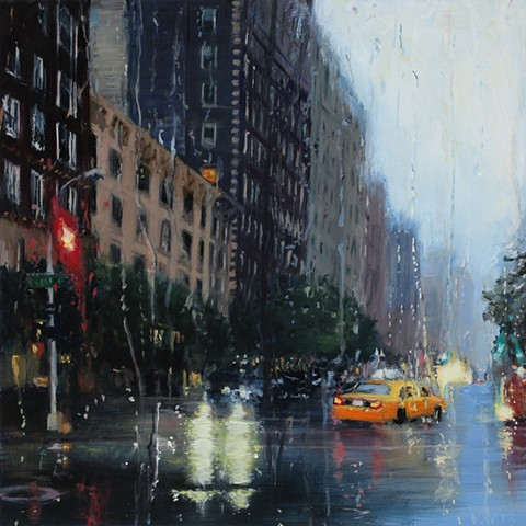 Rainy New York streetscape oil painting
