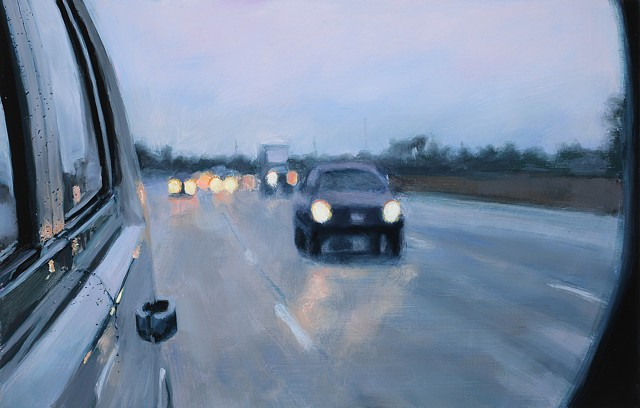 painting of a rear view mirror and road by karen woods