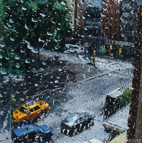New York street scape oil painting