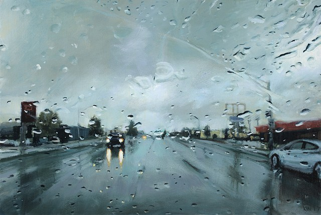 Rainy streetscape oil painting through a car windshield