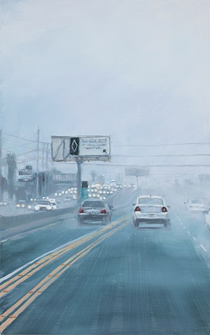 painting of a foggy freeway by karen woods