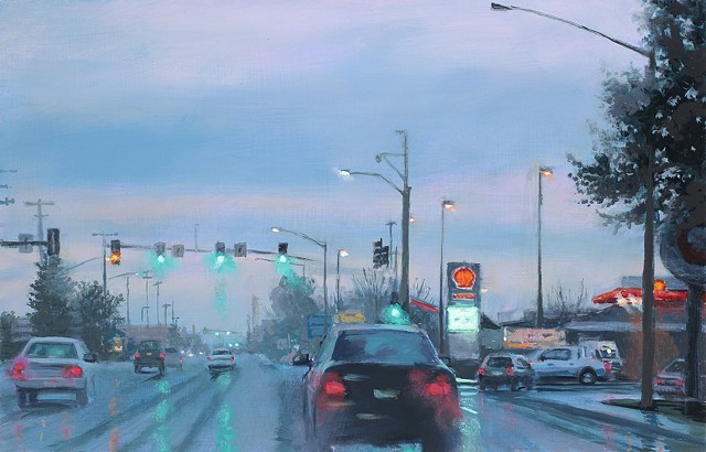 painting of a misty streetscape by karen woods