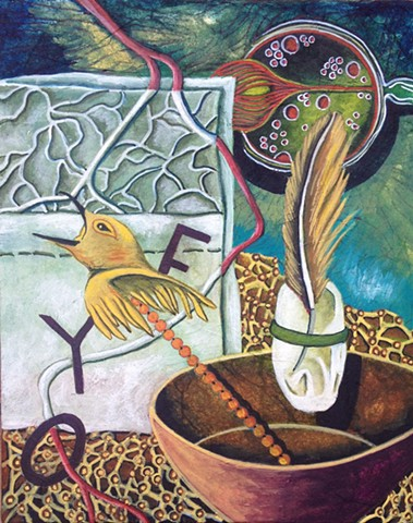 bird totem with bowl
