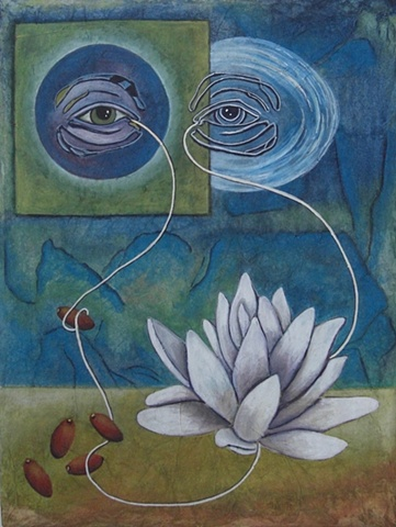 mixed media watercolor painting eyes, seeds, lotus flower