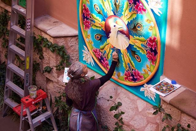 Painting Peacock Mural (Private Commission)