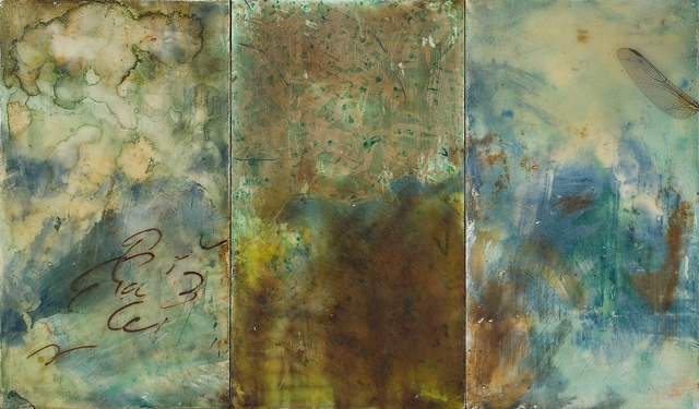 encaustic painting, birds, collage, abstract