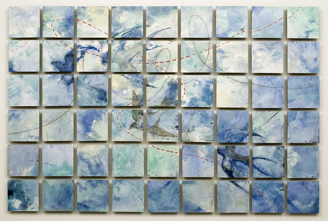 encaustic painting, birds, in flight