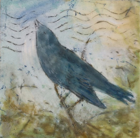 encaustic painting, birds