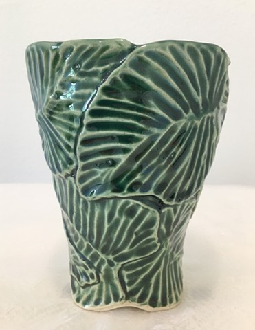 Hand Carved Stoneware Vase with Oribe Glaze Out of Stock