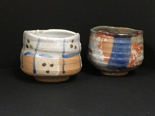 Mingei style tea bowls with Shino and other glazes