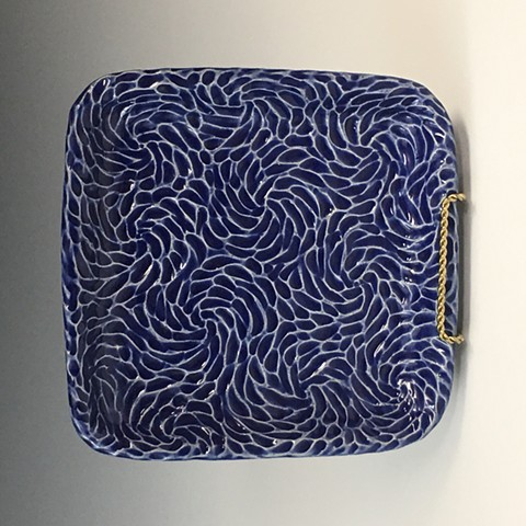 Hand Carved Stoneware Tray with Intense Blue Glaze