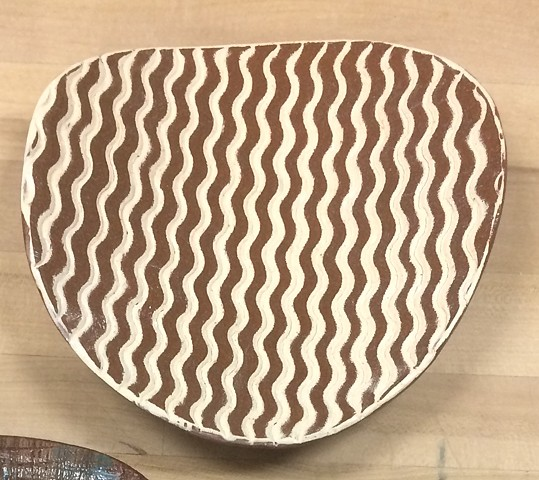 slab formed stoneware with slip inlay