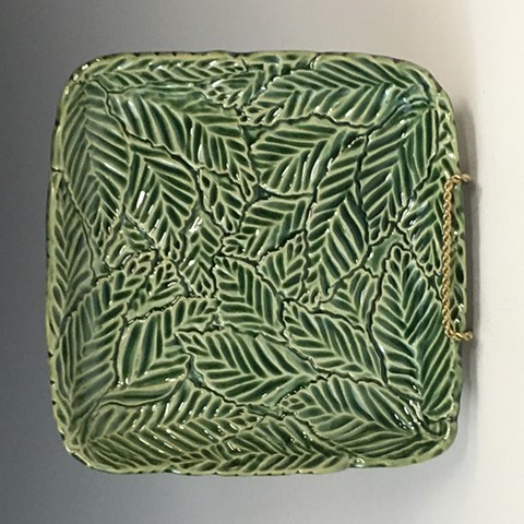 Hand Carved Stoneware tray with Oribe Glaze