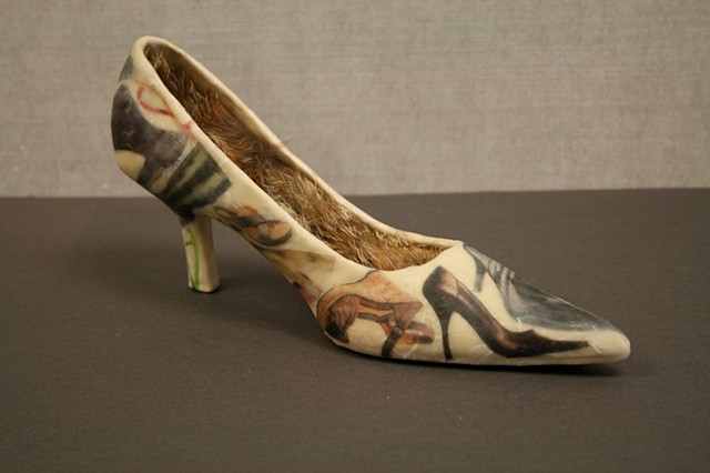 Shoe shoe, Stoneware, Encaustic Wax, Mixed media