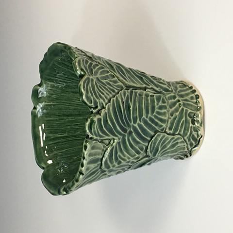 Hand Carved Stoneware Vase with Oribe Glaze
