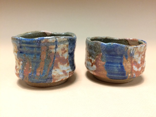 Mingei Style Chawan Tea Bowls with White Shino and blue glaze