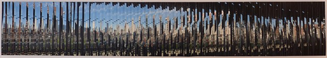 Four consecutive photos taken from the Q train on Manhattan bridge hand-cut and intermixed