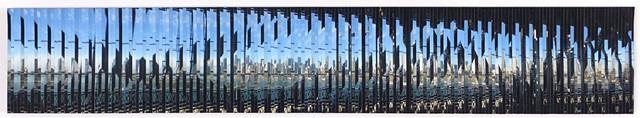 Four consecutive photos taken from the Q train on Manhattan bridge hand-cut and intermixed