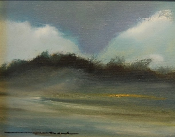 dune clouds oil on canvas 8x10